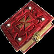 Civil War Era EMPTY CDV  Photo Album Red Leather Maltese Cross Design