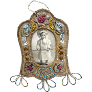 Native American Iroquois Beaded Picture Frame with Beavers and Flowers