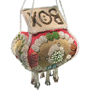 Antique Iroquois Beaded BOX Purse c1900-1910 - Large and Colorful Whimsy
