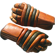 Early Gordie Howe Hockey Gloves All Leather - Unusual Design Ice Hockey Gloves c1950