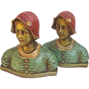 SOLD Pretty Peasant Girl Bookends c1925 Polychrome