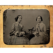 Ambrotype Half Plate Young Ladies w Horse Statuette - Horse Figurine