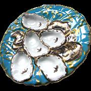 Antique Limoges Turkey Oyster Plate c1880 Aqua Blue