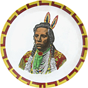 Native American Indian Portrait Plate c1905 England - Spectacular Graphic Impact - Plate no 2