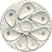 Antique Porcelain Oyster Plate c1890 Germany - Unusual 7 Well Design