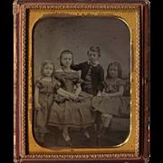 Half Plate 4 Children Ambrotype - 3 Girls and 1 Boy
