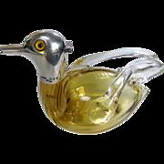 Silver Glass Duck Decanter London 1895 - Saunders & Shepherd Antique Figural Decanter