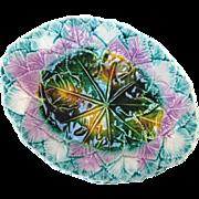 Antique Majolica Leaf Platter Great Colors Mint Condition