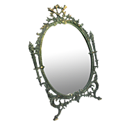 Victorian Cast Iron Mirror Large Antique Dresser or Table Mirror