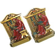 "SOLD Ronson Monk Bookends marked ""LV Aronson 1922"" Polychrome"