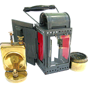 German Carbide Signal Railroad Lantern c1950 A. Satorius Wuppertal
