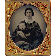 SOLD Ruby Ambrotype Pretty Young Mother and Child - 6th plate