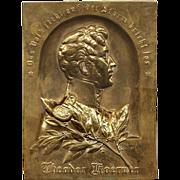 Bronze Plaque German Poet / Soldier Theodor Koerner (1791-1813)