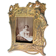 Art Nouveau Picture Frame - Gilded Iron - Pretty Woman watching Butterflies