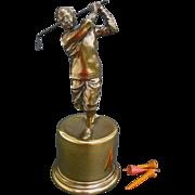 Fine Figural Golf Trophy - Small Class Act - 1939 Burns & Co. Golf Tournament