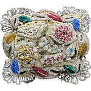Large Antique Iroquois Beaded Pin Cushion with Bird Leaves and Flowers