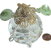 Swarovski Strass Crystal Paperweight (approx. 1 lb.) Beaded Flowers Glass Leaves