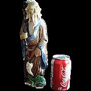 """Rare 12 1/2"""" Shekwan Chinese Mud Man Figurine c1890 - 1919"""