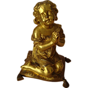 Gilded Metal Child Praying Figurine - French - 1880s