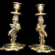 SOLD Pair Antique Brass Candleholders/Candlesticks - Storks/Cranes