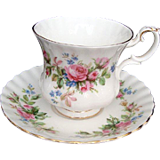 "Royal Albert ""Moss Rose"" Vintage Demi Tasse - Coffee Cup and Saucer"