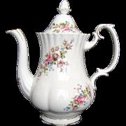 "Large Coffee Pot - Royal Albert ""Moss Rose"" - Vintage"