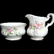 "Vintage Sugar and Creamer - Royal Albert ""Moss Rose"""