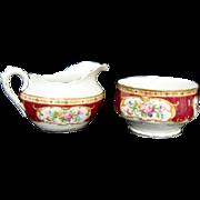 """Lady Hamilton"" - Oval Creamer and Open Sugar Bowl - Royal Albert"