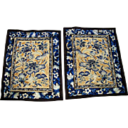 SOLD Pair Antique Silk on Silk Chinese Embroidery Panels