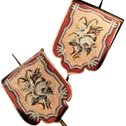 Wonderful Victorian Beadwork and Needlepoint Face Screens - Pair