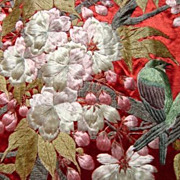 SOLD Stunning Pair of Antique Japanese Silk Panels c1800s Hand Embroidery
