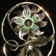 Vintage Symmetalic Sterling 14K Gold Enameled Flower Brooch Pin