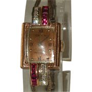 1940's Gruen Precision Rose Gold Ladies Watch with Diamonds & Rubies