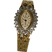 Omega Vintage Ladies 14K Gold with Diamond Bezel Cocktail Watch