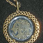 Crown Trifari Intaglio Taurus Bull Pendant & Chain