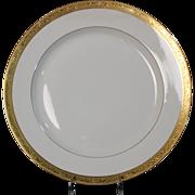 Tresseman & Vogt (T&V) Limoges, France Dinner Plate - White with a Richly Encrusted Gold Trim