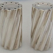 Swirl Salt and Pepper Shakers Sterling Silver Towle Art Moderne 1950