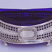 Cobalt Glass 800 Silver Open Salt German  1900