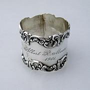 Fancy Scroll Border Baroque Napkin Ring Gorham Sterling Silver 1901