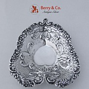 Heart Candy Dish Floral Scroll Repousse Gorham Sterling Silver 1920