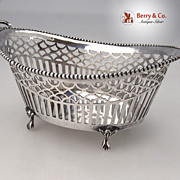 Dutch Basket 833 Silver Open Work Beaded Wreath Handles 1913