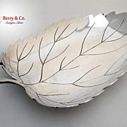 Leaf Form Hand Made Serving Bowl Asian Sterling 1920