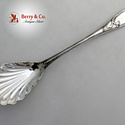 Lily Beaded Stuffing Spoon Coin Silver Carter Whitford 1856 Monogram JBP