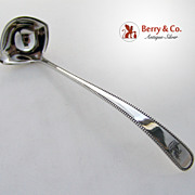 Souvenir Mustard Ladle Galt Brothers Beaded Sterling Silver 1891 Washington's Crest