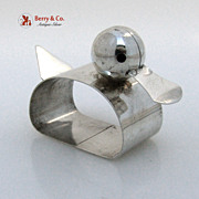 Figural Napkin Ring Duck Form Sterling Silver 1960