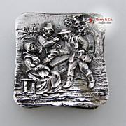 Figural Pill Box 800 Silver Village Scene 1890s