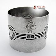 Geometric Designs 800 Silver Napkin Ring 1900
