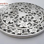 SALE Overlay Coaster Floral Scroll 6 Inch Webster Sterling Silver 1940