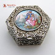 Repousse Patch Box Hand Painted Plaque 800 Silver 1890