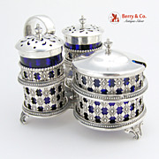 Sterling Silver Cobalt Glass Condiment Set 1900